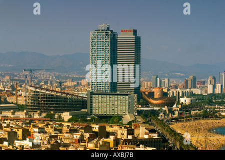 ESP Spain Barcelona Barceloneta Barcelona Hotel des Arts Frank Gehry Teleshot - Stock Photo