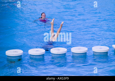 Spain Ibiza 10 Year Old Girl Child Female In A Swimming Pool Sitting Stock Photo Royalty Free