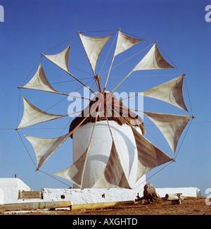 Windmill with sails Mykonos Greece Aegean Islands - Stock Photo