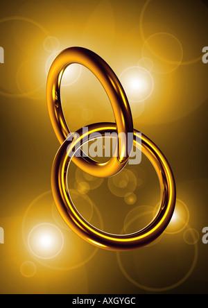 2 rings symbol for marriage fusion 2 Ringe ineinander verschränkt Symbol für Fusion Heirat - Stock Photo
