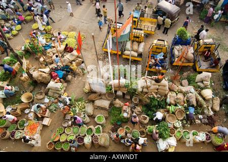 Above Trivandrum Market, Kerala, India - Stock Photo