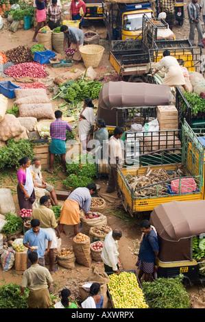 Early Morning Market, Trivandrum, Kerala, India - Stock Photo