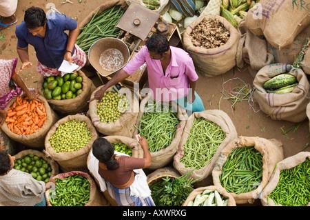 Market Trader, Trivandrum, Kerala, India - Stock Photo