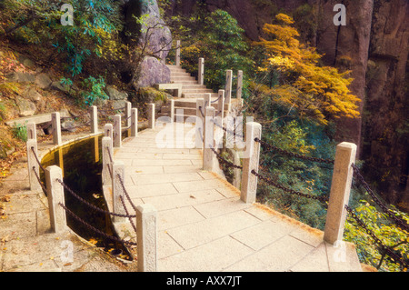 Footpath, White Cloud scenic area, Huang Shan (Yellow Mountain), UNESCO World Heritage Site, Anhui Province, China, - Stock Photo