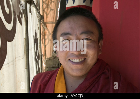 Tibetan monk at Ganden Monastery, Tibet Autonomous Region, China. Sept 06. - Stock Photo