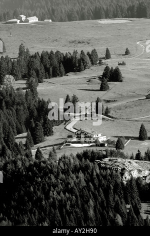Panorama in black and white With old station war mountain farm and hotel - Stock Photo