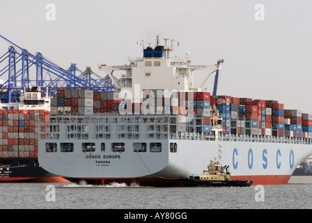 Cosco 'Europe' container ship at the Port of Felixstowe, Britain's largest container terminal. - Stock Photo