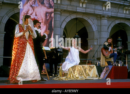 Spaniards Spanish people female male actors acting on stage performance in Plaza Mayor Madrid Madrid Province Spain - Stock Photo