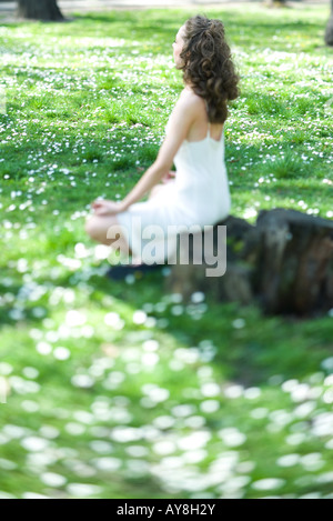Young woman sitting in lotus position in meadow, side view, selective focus - Stock Photo