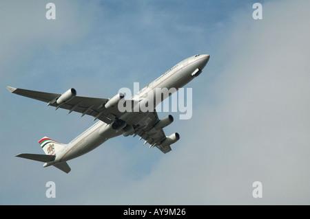 Etihad Airways jet taking off from Gatwick airport, London, UK - Stock Photo