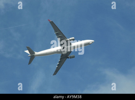 Airbus taking off from Gatwick airport, London, UK - Stock Photo