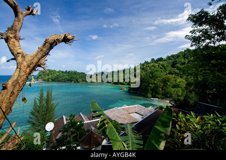 Jamaica Port Antonio Tropical landscape near blue lagoon - Stock Photo