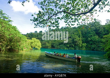 Jamaica Port Antonio Tropical landscape at blue lagoon tour boat with tourists - Stock Photo