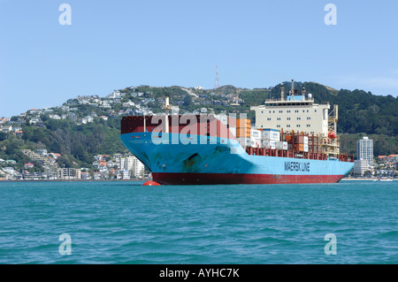 Maersk Line container ship Nysted Maersk Wellington harbour New Zealand - Stock Photo