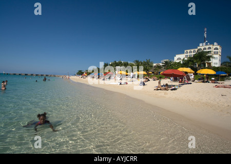 Jamaica Montego Bay beach Dr Caves beach - Stock Photo