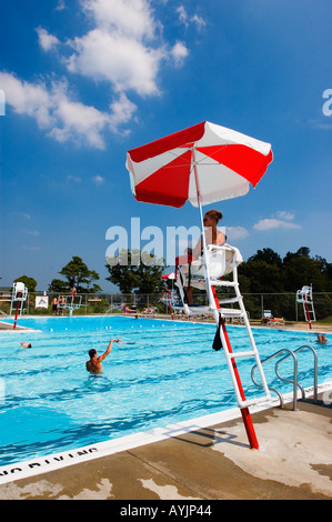 Lifeguard in chair watching swimmers in lake at buffalo - Regional park swimming pool midwest city ok ...