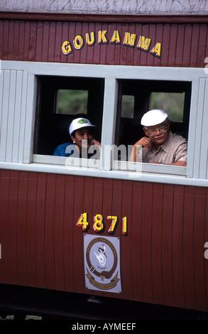 The Outeniqua Choo Tjoe passengers in carriage at Knysna western cape South Africa - Stock Photo