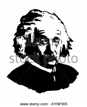 Albert Einstein 1879 1955 German Mathematical Physicist Poster Style Modern Illustration - Stock Photo