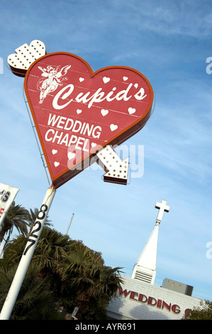 HEART SIGN INDICATING CUPID S WEDDING CHAPEL LAS VEGAS NEVADA UNITED STATES OF AMERICA USA - Stock Photo