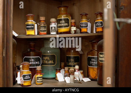 View inside a poison cabinet - Stock Photo