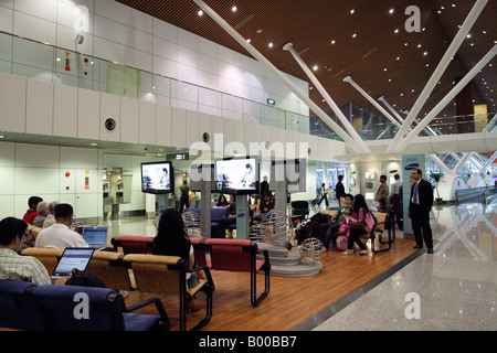 Duty free section of Kuala Lumpur International Airport (KLIA) in Malaysia - Stock Photo