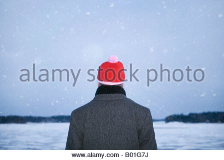 Rear view of a man standing at a frozen lakeside during snowing - Stock Photo