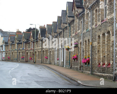 terraced houses Ilfracombe Devon England - Stock Photo
