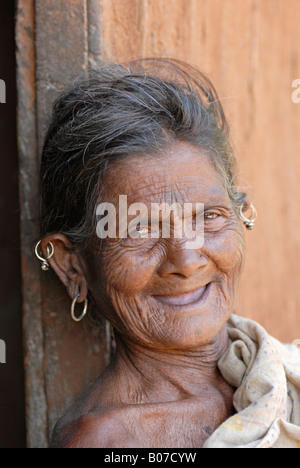 Close-up of tribal old woman.  Thakkar tribe - Stock Photo