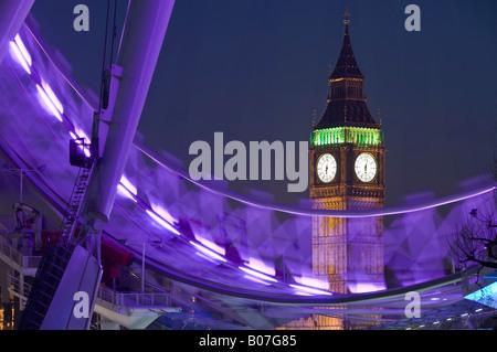 London Eye and Big Ben, South bank, London, England - Stock Photo