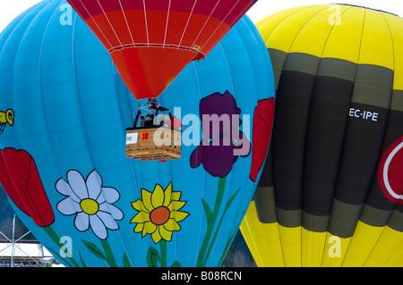 Hot air balloons, International Balloon Festival in Château-d'Oex, Vaud, Switzerland - Stock Photo