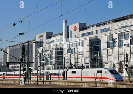 ICE 2 high-speed train in front of administrative offices of Baden-Wurttemberg and Sparkasse banks, Stuttgart, Baden - Stock Photo