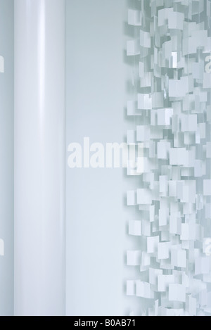 White plastic curtain and column, cropped view - Stock Photo