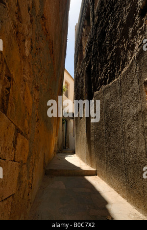A fine narrow street view at old town of Chania, Crete, Greece, Europe. - Stock Photo