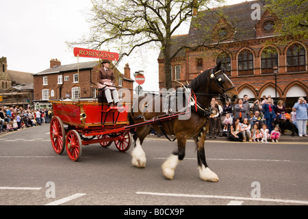 UK Cheshire Knutsford Royal May Day Procession Robinsons Brewery Dray - Stock Photo