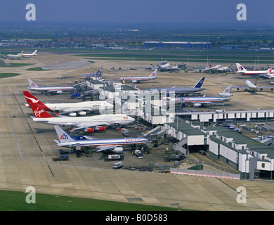 Aerial view of early 1990's Heathrow Airport London UK - Stock Photo