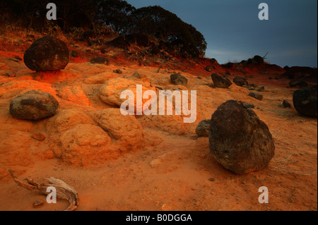 Volcanic rocks, and eroded soil in Sarigua national park, Herrera province, Republic of Panama. - Stock Photo