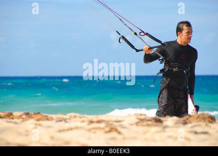 Kitesurfer Playa del Este beach Havana Cuba - Stock Photo