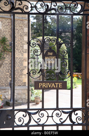 Gate to Master's Lodge in Jesus College, Cambridge - Stock Photo