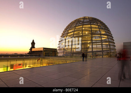 Berlin Reichstag buidling roof terasse cupola by Sir Norman forster at twilight - Stock Photo