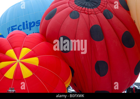 International Hotair Ballon Festival in Chateu d Oex Vaud Schweiz - Stock Photo