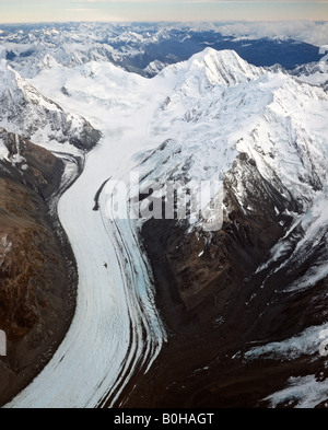 Mount Tasman Glacier, aerial shot, Aoraki/Mount Cook National Park, South Island, New Zealand - Stock Photo