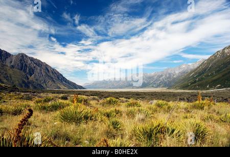 Tasman Glacier Valley, South Island, New Zealand - Stock Photo