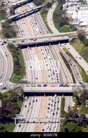 Aerial of Los Angeles freeway, California, USA. - Stock Photo