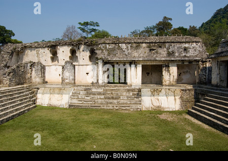 King Pakal castle detail showing the courtyard and main entrance at Palenque ruins - Stock Photo