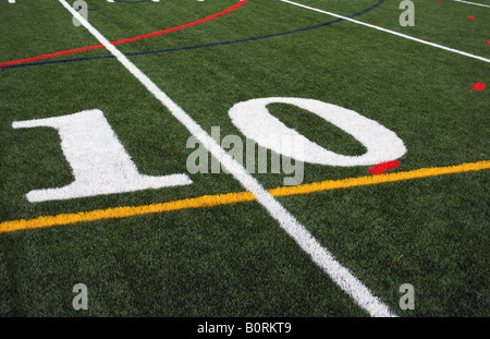 10 yard line on the football field - Stock Photo