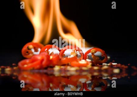 Pepper on fire - Stockfoto