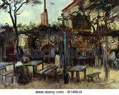 fine arts, Gogh, Vincent van, (1853 - 1890), painting, 'La Guinguette', circa 1886, oil on canvas, 49 x 64 cm, Musée - Stock Photo