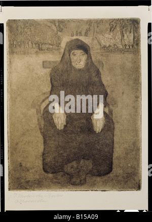fine arts, Modersohn-Becker, Paula (1876 - 1906), graphic, sitting old woman, etchin, aquatinta, 1899, Kunsthalle - Stock Photo
