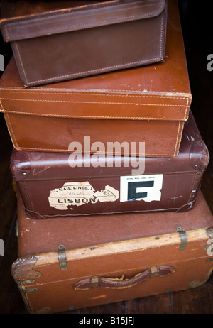Set of vintage leather cases - Stock Photo