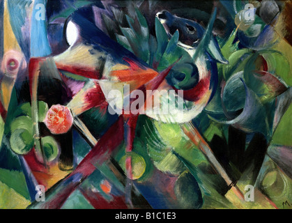 fine arts, Marc, Franz, (1880 - 1916), painting, 'Reh im Blumengarten', ('a deer in the flower garden'), 1913, oil - Stock Photo